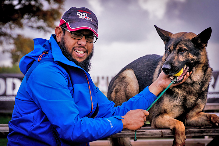 Mo Ahmed with his dog Fabio