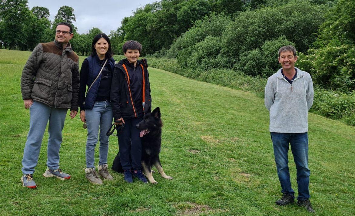 Janey Wayne, family & Bailey (GSD) at Residential Dog Training - Vislor Salisbury