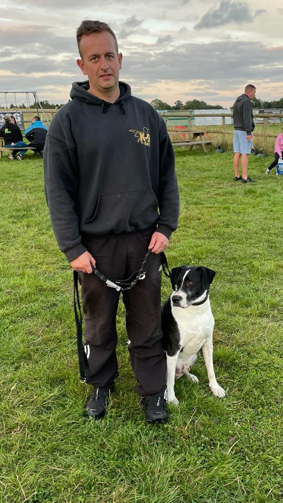 Tom with Frances Taylor's dog Austin at Vislor Dog Training Center - Burton