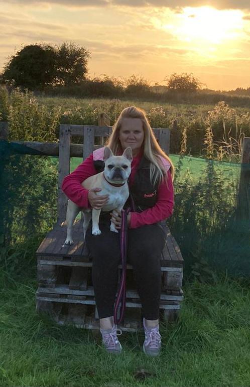 Vislor Trainer Sharne with Helen Chrimes' dog Bentley at Residential Dog Training.