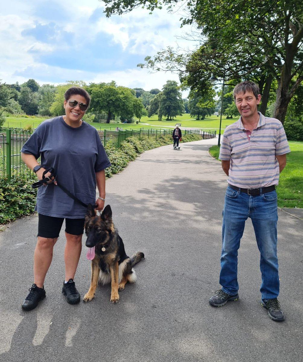 Natasha Small and her German Shepherd Dog Sheba following residential dog training at Vislor Dog Training Center - Salisbury.